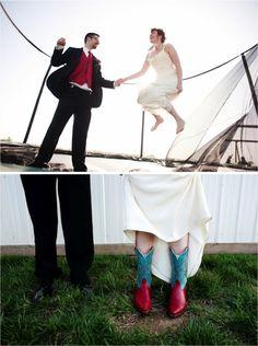 trampoline + wedding day = fun