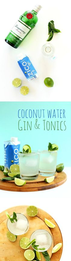 4-ingredient Gin and Tonic cocktails infused with naturally-sweet coconut water for a refreshing, healthier #cocktail perfect any time of year.