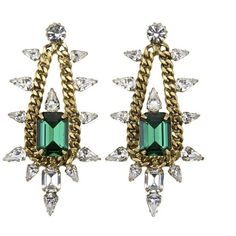Emerald Pear Crystals and Chain Earrings ($373) ❤ liked on Polyvore