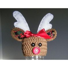 """A very special hat for all the special little """"deers"""" in your life this time of year! Great for photos! Crochet hat with ears lined with fabric. Antlers are felt that is lightly stuffed to add some dimension. Buttons or felt can be added for nose and eyes. Add a perky bow for little girls. [1]: http://www.ravelry.com/groups/indie-design-gift-a-long"""
