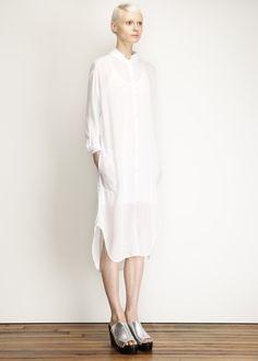 Black Crane Double Collar Dress (White)