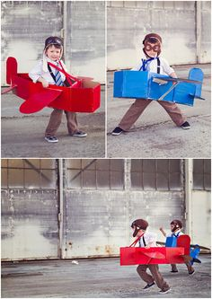 Come fly with me! This is such a lovely upcycle idea for cardboard boxes: all you need seems to be scissors, duct tape, suspenders and paint. Cute kids help, of course, as do pilot caps.