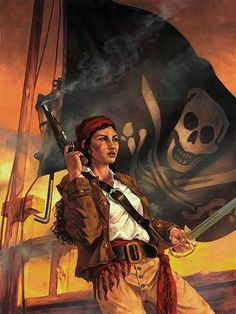 """we-are-rogue: """"Anne Bonny Oil on paper mounted on panel – Cover to the novel, """"Heart of a Pirate: A Novel of Anne Bonny"""" by Pamela Johnson. Illustration by Randy Gallegos. Pirate Queen, Pirate Art, Pirate Woman, Pirate Life, Pirate Ships, Pirate Decor, Pirate Crafts, Character Inspiration, Character Art"""