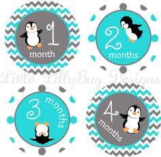 Milestone Stickers Baby Monthly Stickers Baby Boy Penguins Baby Shower Gift One-Piece Baby Stickers Baby Month Sticker Aqua and Grey Photo by LittleLillyBugDesign on Etsy https://www.etsy.com/listing/207749412/milestone-stickers-baby-monthly-stickers