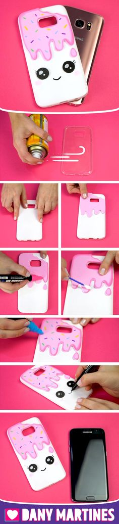 Faça você mesmo uma linda capinha de celular de sorvete fofinho, kawaii, Cute, DIY, Do it yourself, Dany Martines