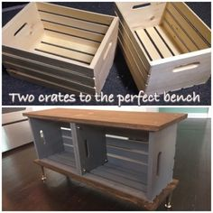 DIY crate bench- Mudroom Best Picture For Wooden crates bookshelf kids For Your Taste You are lookin Crate Bench, Crate Seats, Dog Crate Tray, Cat Crate, Crate Table, Wooden Crate Furniture, Diy Wooden Crate, Furniture Storage, Wooden Crates Tv Stand