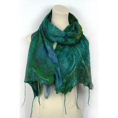 Nuno Felted Silk Scarf  Hand Dyed  Blue Green Emerald by ZMFelt, £60.00