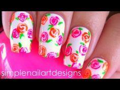 Neon Rose Nail Art Tutorial