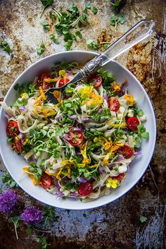 Summer Garden Linguine with Corn, tomatoes and fresh herbs