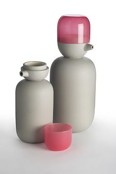 Tableware we like / Tea Pot / Grey / Pink Cup / Stackable / at matteozorzoamiti