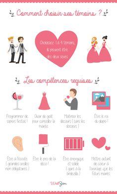 Infographie mariage - Les rôles des témoins de mariage. #mariage #wedding #infographie