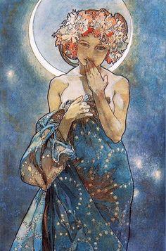 Alphonse Mucha Moonlight Art Nouveau Art Print by Vintage Restored Art