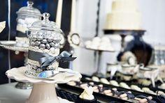 Vintage-Gothic Wedding Dessert Table // Hostess with the Mostess® Home Wedding, Wedding Table, Wedding Ideas, Minnie Mouse Roja, Mini Meringues, Black And White Wedding Theme, Dessert Tray, Dessert Tables, Coconut Truffles