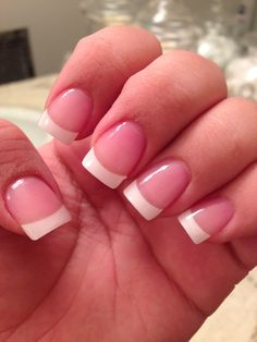 Classic French tip acrylic nails.