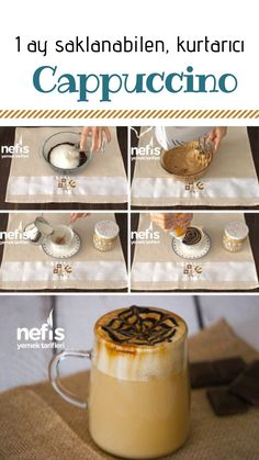 Ev Yapımı 1 Ay Saklanabilen Cappuccino Tarifi nasıl yapılır? 4.589 kişinin defterindeki bu tarifin resimli anlatımı ve deneyenlerin fotoğrafları burada. Latte Macchiato, Frappe, Cappuccino Recipe, Nescafe, Food Words, Coffee And Books, Cake Shop, Chocolate Coffee, Coffee Recipes