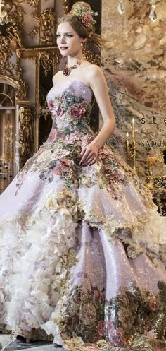 Stella de Libero couture gown, full dress, ballroom, Victorian, glamour, mauve, purple, pink, lace, roses in the dress. Romantic elegance
