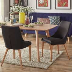 Sasha Oak Barrel Back Dining Chair by MID-CENTURY LIVING (Set of 2)
