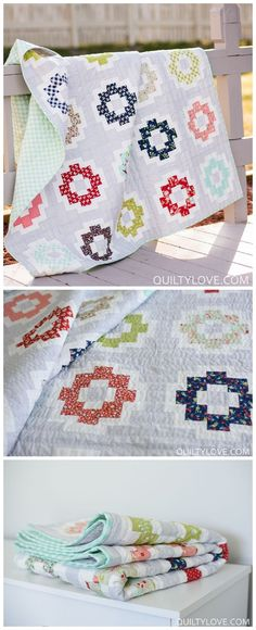 City Tiles quilt pattern by Emily of quiltylove.com.  Modern quilt pattern using Bonnie and Camille fabric.