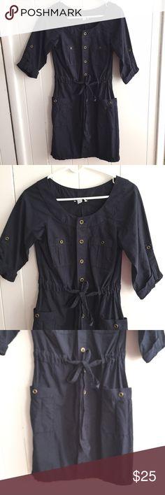 LOFT Safari Dress Sz S LOFT navy blue safari dress. Size small. Button down front with flattering tie at waist. EUC LOFT Dresses