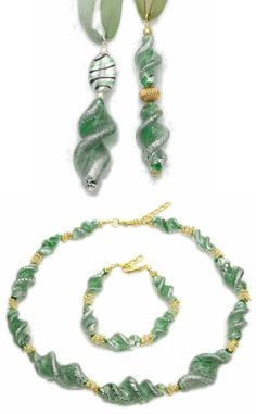 Glamorous Murano glass pendants with twisted beads and silver leaf, size mm. 75 x 15. Wholesale fashion necklace made from very long twisted glass beads (mm.45), green with silver foil and matching bracelet. Twisted beads are widely used in Venetian Murano jewellery.
