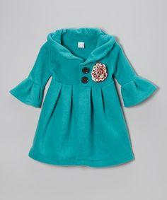 Teal Polka Dot Flower Fleece Swing Coat - Toddler & Girls | Daily deals for moms, babies and kids