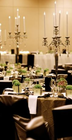 Green and brown wedding table