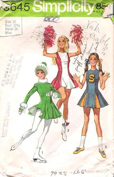 Vintage Cheerleader and  Ice Skater Sewing Pattern vintage