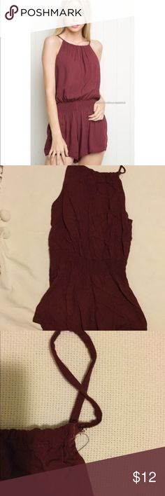 Brandy Melville Blanche romper Brandy Melville Blanche romper maroon, one size fits all but fits like a small. Strap was repaired Brandy Melville Dresses Mini