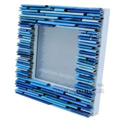 Items similar to blue picture frame- made from recycled magazines on Etsy Recycled Paper Crafts, Recycled Magazines, Newspaper Crafts, Wall Art Crafts, Diy Wall Art, Blue Picture Frames, Diy Pencil Case, Art Lessons Elementary, Craft Corner