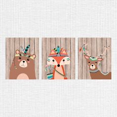 Tribal nursery decor tribal animals nursery art by myfavoritedecor Tribal Nursery, Nursery Wall Art, Nursery Decor, Tribal Animals, Woodland Decor, Rustic Nursery, Wall Art Sets, Etsy, Printable Art