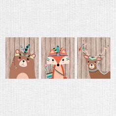 Tribal nursery decor, tribal animals nursery art, Bear, Fox, Fawn, woodland decor, rustic nursery wall art, Set of 3, 8x10, instant download by myfavoritedecor on Etsy https://www.etsy.com/nz/listing/240006050/tribal-nursery-decor-tribal-animals