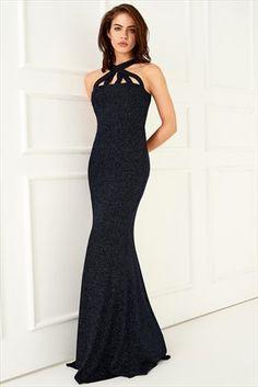 Lacivert Parıltılı Elbise