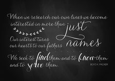 June 2013 Visiting Teaching VT Free Printable Handout // Chalkboard Quote // Turning the hearts of the fathers // family history //