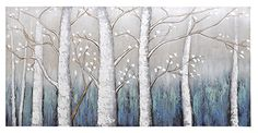 This hand-embellished landscape features trendy turquoise mixed with a soft yellow to create the perfect background for the rich white birch trees. Canvas Wall Decor, Canvas Art, Canvas Prints, Hand Painting Art, Painting Prints, Paintings, White Birch Trees, Unique Wall Art, Bathroom Art