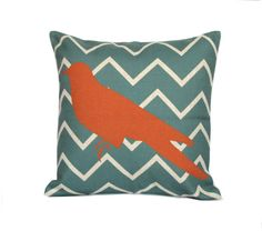 Bird throw pillow cover 18x18 Chevron decorative by jorgestudio