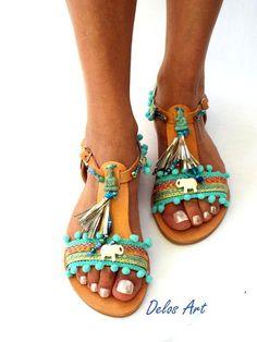 Sandalias sandalias de Pom Pom cuero azul sandalias