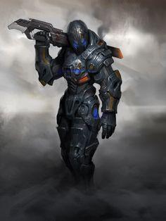 Mechanics Suit, Heo Ilhaeng on ArtStation at… Cyberpunk, Armor Concept, Concept Art, Character Concept, Futuristic Armour, Futuristic Art, Space Fantasy, Sci Fi Fantasy, Dark Fantasy