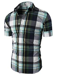 H2H Mens Casual Button-down Slim Fit Roll-up Sleeve Plaid Pattern ...
