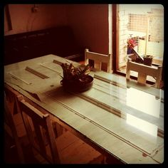 Old Door converted into a communal table, for drinking tea, eating lunch and brainstorming.