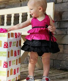 Look what I found on #zulily! Fuchsia & Black Tiered Halter Top - Infant & Toddler by RuffleButts #zulilyfinds