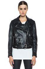 Acne Studios Mape Lambskin Moto Jacket in Black [2]