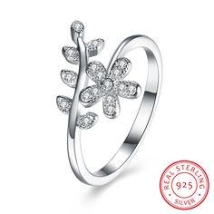 925 Sterling Silver Zircon Flower Ring