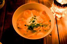 Cheese dumplings in garlic broth at Kachka