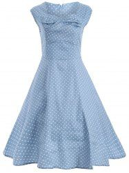 Small Polka Dot Pattern Vintage Dress in Cloudy | Sammydress.com Mobile