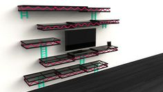 Los Angeles-based designer Igor Chak was inspired by the video game Donkey Kong when he designed these 8-bit wall shelves that resemble the game's levels.