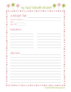 word recipe card template