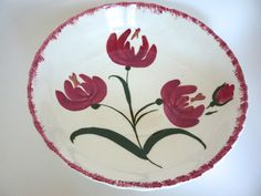 Large Tulip Bowl Blue Ridge China Southern Potteries Big Serving Bowl Centerpiece Red White Green Flower Serving Bowl 10.5 inches by BonniesVintageAttic on Etsy