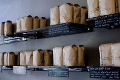 Four Barrel bags of coffee (photo courtesy of fourbarrelcoffee.com, photo by Eric Wolfinger)
