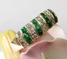Stunning 18k TIFFANY Emerald Diamond Band Ring: $3875 Appraisal from divinefind on Ruby Lane