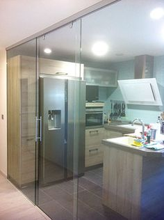 Glass partition for kitchen Partition Design, Glass Partition, Architectural House Plans, Garage Renovation, Kitchen Cabinet Styles, Beautiful Houses Interior, Sweet Home Alabama, Glass Kitchen, House Rooms